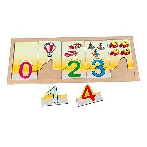Brinquedo Educativo Numerais E Quantidades Na Base Mdf20 Peças 2 Bases
