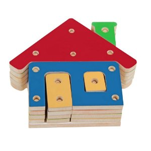 Troque E Encaixe As Cores Casa Em Mdf 20 Peças