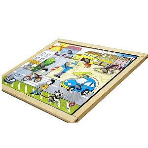 Brinquedo Educativo Quebra Cabeça Com Pinos Cidade Base Mdf Com 10 Peças - CARLU