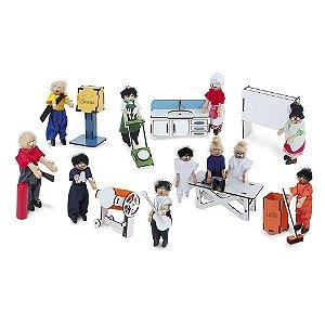 Brinquedo Educativo Familia Terapêutica Profissões Com Caracterizacao Mdf 10 Personagens - CARLU