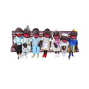 Fantoches Gigantes Familia Negra 7 Pers Emb Ziper Tecido Especial