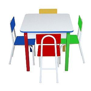 Mesa Com 4 Cadeiras Cadeiras De Ferro - CARLU