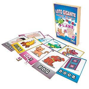 Brinquedo Educativo Loto Gigante Imagens E Palavras Ingles Mdf52 Peças - CARLU