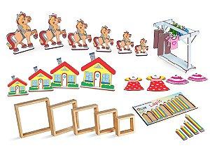 Brinquedo Educativo Kit seriacao e classificacao em MDF 5 jogos - CARLU