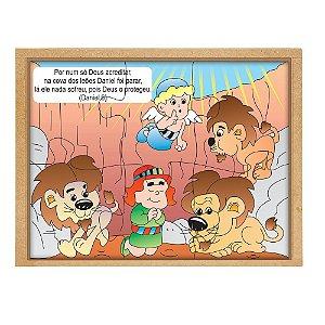 Quebra Cabeça Biblico Daniel Cova Leoes Base Mdf 6 Peças