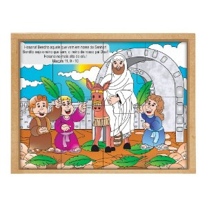 Quebra Cabeça Biblico Domingo De Ramos Base Mdf 8 Peças