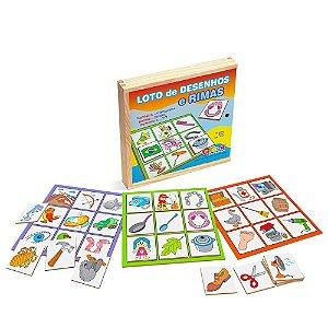 Brinquedo Educativo Loto De Desenhos E Rimas Em Mdf 30 Peças - CARLU