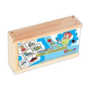 Brinquedo Educativo Dominó Meus Brinquedos Em Mdf Com 28 Peças - CARLU