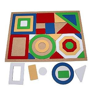 Brinquedo Educativo Quebra Cabeça Geometrico Gigante Base Mdf Com 30 Peças - CARLU
