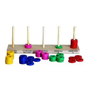 Brinquedo Educativo Abaco Aberto 5 Colunas - Argolas De Plastico - CARLU