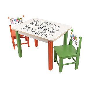 Mesa Baby Rabisco Com 2 Cadeiras De Madeira