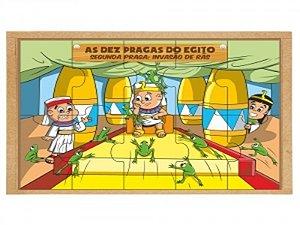 Brinquedo Educativo Religiosos Kit Quebra Cabeça 10 Pragas Do Egito - CARLU