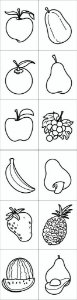Carimbo frutas - Mad. com 12 pecas - Cx. papel