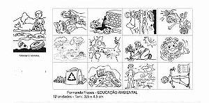 Carimbo formando frases educacao ambiental - 12pç-Cx.papel