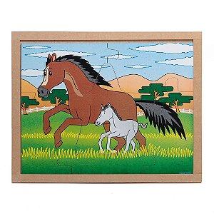 Brinquedo Educativo Quebra Cabeça Animais E Filhotes Cavalo Base Mdf - CARLU