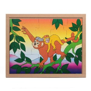 Quebra Cabeça Animais E Filhotes Macaco Base Mdf