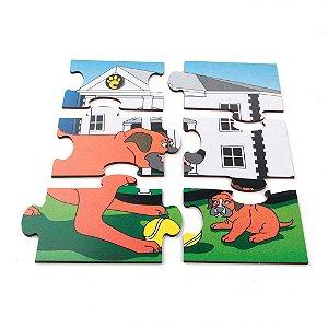 Brinquedo Educativo Quebra Cabeça Animais E Filhotes Cachorro Base Mdf - CARLU