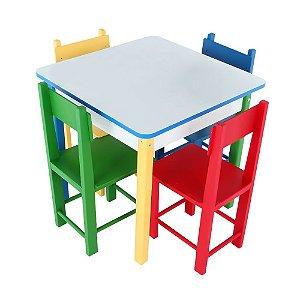 Mesa Com 4 Cadeiras De Madeira E Mdf