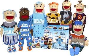 Brinquedo Educativo Kit Fantoches 8 Gigantes + Livro Cuidando Da Agua - CARLU