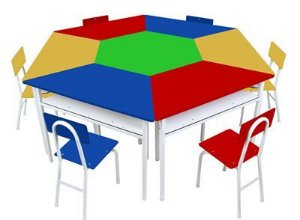 Mesas Angulares Com 1 Cadeira De Ferro Azul ão