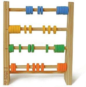 Brinquedo Educativo Abaco Fechado Com 4 Hastes 40 Argolas Em E.V.A - JOTTPLAY