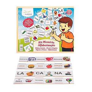 Kit Memória Educativa Alfabetizaçao 04 Jogos Mdf Estojo Em Madeira