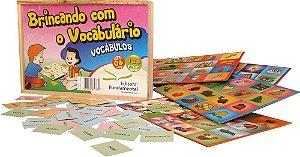 Brinquedo Educativo Brincando Com O Vocabulario 126 Peças Madeira - FUNDAMENTAL