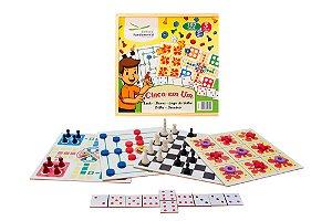 Jogo 5 Em 1 Dama Trilha Ludo Jogo Velha E Domino Madeira