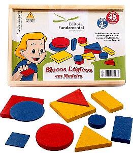 Brinquedo Educativo Blocos Logicos 48 Peças Em Madeira - FUNDAMENTAL