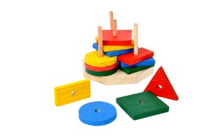 Brinquedo Educativo Torre De Formas Base 16x16 Cm E 16 Formas - FUNDAMENTAL