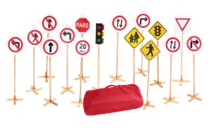 Conjunto Educaçao No Transito Bolsa Com 14 Placas + Semaforo