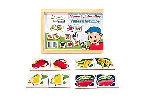 Brinquedo Educativo Memória Frutas E Legumes Jogo Com 40 Peças - FUNDAMENTAL