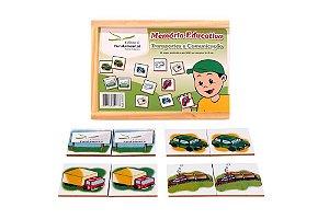 Brinquedo Educativo Memória Meios De Transportes Jogo Com 40 Peças - FUNDAMENTAL