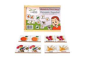 Brinquedo Educativo Memória Portugues/Espanhol Jogo Com 40 Peças Mdf - FUNDAMENTAL