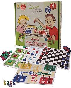 Jogo 4 Em 1 Dama Trilha Ludo E Jogo Da Velha Caixa Cartonada