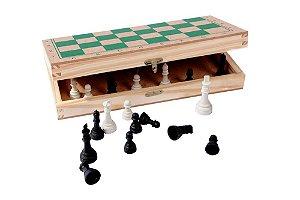 Jogo De Xadrez Com Estojo Peq 25x25 Cm