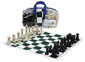 Jogo De Xadrez Escolar 44x44 Tab. Em Napa Estojo Pvc + Regras