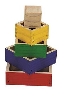 Cubos De Encaixe 05 Caixas De Encaixe Coloridas Med. 13x13x9cm