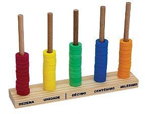 Brinquedo Educativo Abaco Aberto Base 27x16cm Com 50 Argolas Em E.V.A  - FUNDAMENTAL