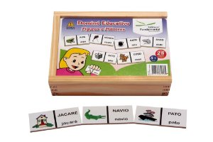 Brinquedo Educativo Dominó Figuras E Palavras Jogo Com 28 Peças - FUNDAMENTAL