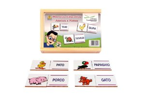 Memória Educativa Animais E Nomes Jogo Com 40 Peças Mdf