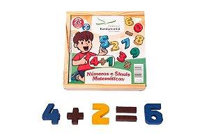 Brinquedo Educativo Numeros E Sinais Matematicos 25 Peças Em Madeira - FUNDAMENTAL