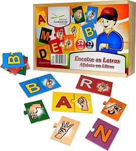 Brinquedo Educativo Encaixe As Letras Alfabeto Em Libras Em MDF Com 54 Peças - FUNDAMENTAL