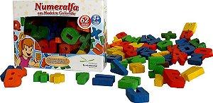 Brinquedo Educativo Numeralfa Em Madeira Colorida 62 Peças Cartonada - FUNDAMENTAL