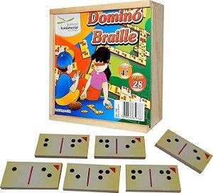 Brinquedo Educativo Dominó Em Braile Com 28 Peças Em MDF - FUNDAMENTAL