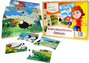 Brinquedo Educativo Quebra Cabeça Animais - Kit com 10 Quebra cabeças - Fundamental - FUNDAMENTAL