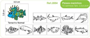 Carimbos Pedagógicos Peixes Marinhos 10 Unidades - Fundamental