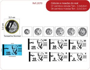 Carimbos Cedulas e Moedas do Real - 13 un.