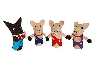 Conjunto Fantoches Os Tres Porquinhos Especial 4 Unidades