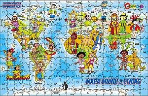 Quebra-Cabeça Geografia - Mapa Mundi e Etnias 300 peças